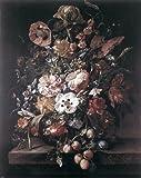 Art Oyster Rachel Ruysch Bouquet in a Glass Vase - 20.1'' x 25.1'' Premium Archival Print
