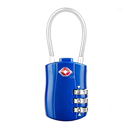 Steel Wirerope Code Lock TSA Certification 3-Digital Password Safety uggage Lock Combination Padlock