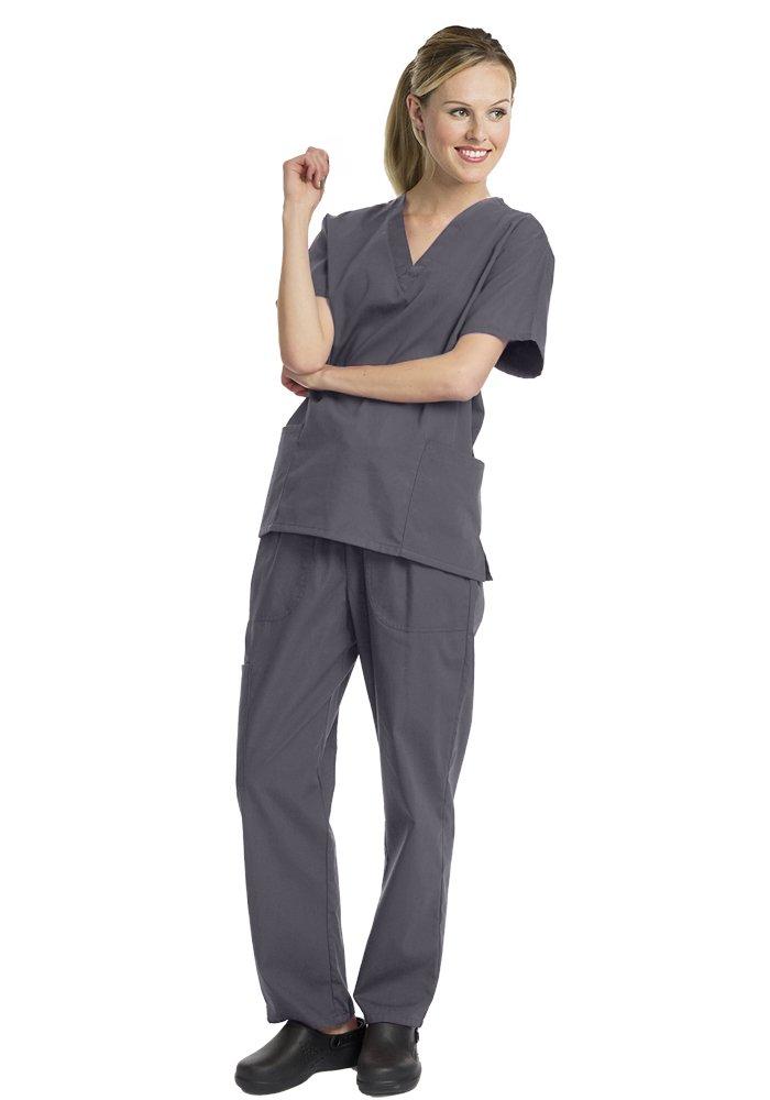 Deluxe 4pk Medical Scrubs for Women Nurse Uniform Set Solid V-Neck, Grey, Medium