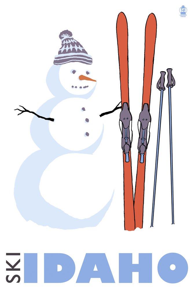 Snowman with Skis – Idaho 36 x 54 Giclee Print LANT-24661-36x54 36 x 54 Giclee Print  B017E9Z4B4
