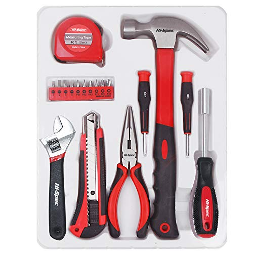 Hi-Spec 18 Piece Household Tool Set of Hands Tools, Claw Hammer, Precision Screwdrivers, Adjustable Wrench, Needle Nose Pliers, Tape Measure for Picture Hanging, Decorating, Electronics & ()