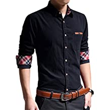 RubySports Big Boys Casual Men's Corduroy Long-sleeved Stitching Shirt 4 Colors