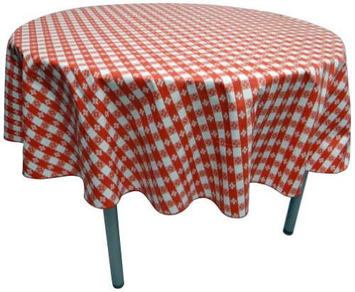 Phoenix Cafe Check Vinyl Tablecloth, 52-Inch Inch Round Cut, Red and White -