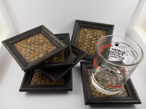 Classic Coasters Antique Vintage Thai Wood Coasters 6pc by Mr_air_thai