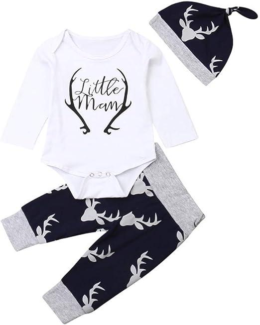 Newborn Infant Baby Boy Girl Outfits Clothes Deer Romper Tops+Pants+Hat 3PCS Set