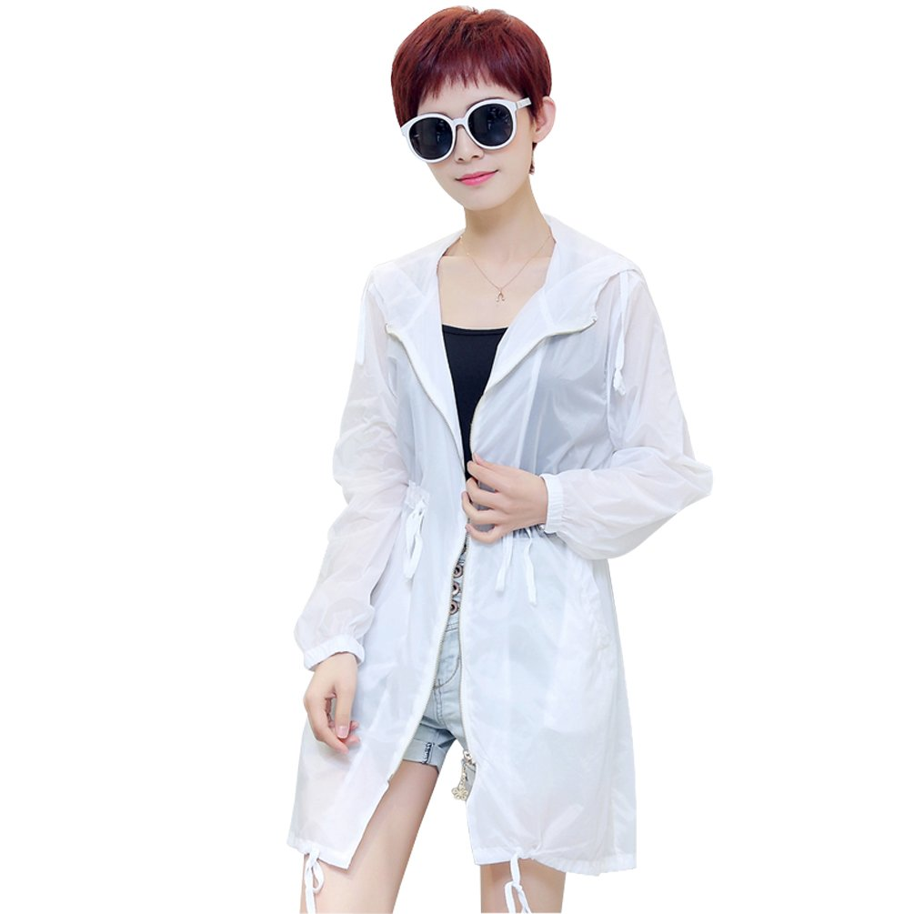 White Lady Middle Drawstring Zipper Closure Sun-Protection Cloth