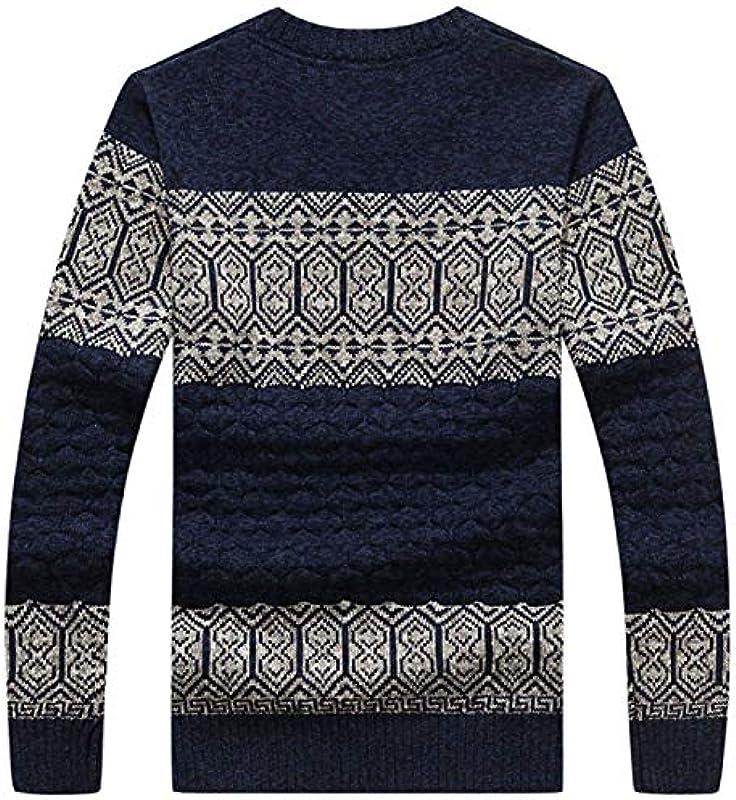 Męski sweter z dzianiny wełna bawełniana gruby sweter Nner okrągły dekolt jesień mężczyźni zima sweter dziergany istotnie gnieciony sweter: Odzież