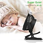 Clip on Fan Battery Operated Fan, USB or 2600mAh Rechargeable Battery Powered Small Desk Fan Whisper Quiet with 4 Speed Swivel 360° Portable Stroller Fan for Baby Stroller Home Office Camping, Black 14 【2018 Newest Upgraded Clip On Desk Fan】Ommani clip on fan optimized the fluid mechanics structure to make enhanced airflow but operate quieter. Sleek design with smoother fringe and more stable head that won't get loose easily, really a neat personal fan makes you cool. 【4 Speeds, Powerful Motor, Whisper Quiet】Preferably 4 speeds from breeze to strong wind for all your needs. Powerful brushless & rust-less copper-core motor makes strong wind up to 80ft/s like sticking your head out the window when you're on the freeway, while being more durable and quieter, minimal noise low to 30db, won't bother even your baby's sleep. 【USB or 2600mAh Rechargeable Battery Powered】Upgraded with the best quality rechargeable & replaceable battery, last 3 - 8 HOURS depends on the wind speed. It can work and charge at the same time by laptop, power bank or USB charger via the supplied micro USB cord, which saves your money and hassle of buying batteries.