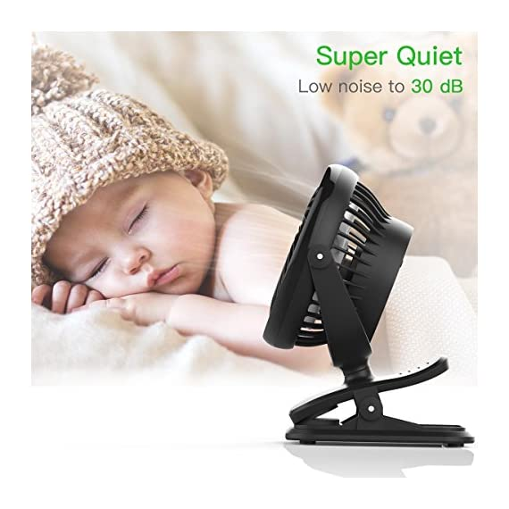 Clip on Fan Battery Operated Fan, USB or 2600mAh Rechargeable Battery Powered Small Desk Fan Whisper Quiet with 4 Speed Swivel 360° Portable Stroller Fan for Baby Stroller Home Office Camping, Black 5 【2018 Newest Upgraded Clip On Desk Fan】Ommani clip on fan optimized the fluid mechanics structure to make enhanced airflow but operate quieter. Sleek design with smoother fringe and more stable head that won't get loose easily, really a neat personal fan makes you cool. 【4 Speeds, Powerful Motor, Whisper Quiet】Preferably 4 speeds from breeze to strong wind for all your needs. Powerful brushless & rust-less copper-core motor makes strong wind up to 80ft/s like sticking your head out the window when you're on the freeway, while being more durable and quieter, minimal noise low to 30db, won't bother even your baby's sleep. 【USB or 2600mAh Rechargeable Battery Powered】Upgraded with the best quality rechargeable & replaceable battery, last 3 - 8 HOURS depends on the wind speed. It can work and charge at the same time by laptop, power bank or USB charger via the supplied micro USB cord, which saves your money and hassle of buying batteries.