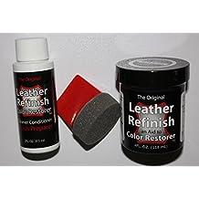 Leather Refinish an Aid to Color Restorer Kit / Cleaner / Color Restorer / Sponge Applicator (Black)