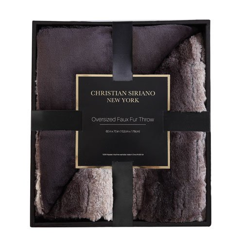 Christian Siriano Luxury Faux Fur Throw with Gift Box in Black Ombre