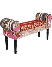 Kare Designerska ławka do siedzenia Wing Patchwork Powder, mała, wyściełana ławka na buty, ławka tapicerowana w stylu barokowym, uniwersalny rozmiar