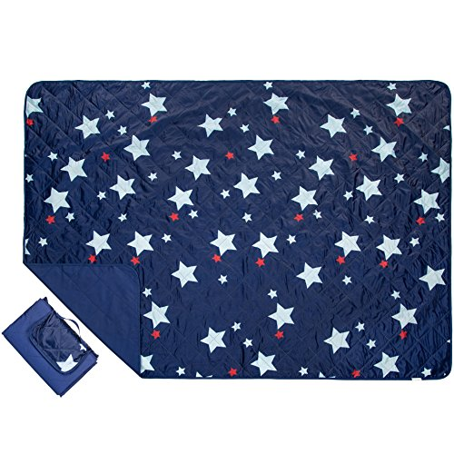 Outdoor Blanket Extra Large Picnic Blanket Water-Resistant and Sand Proof Beach Blanket- Compact Mat Folds into a Tote Bag for Traveling- 78