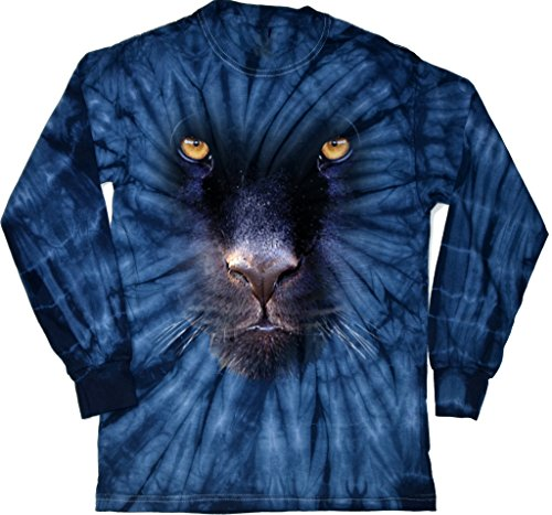 Buy Cool Shirts Mens Big Panther Face Long Sleeve Tie Dye T-Shirt, Spider Navy, Medium