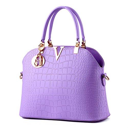 bag Purple leather pattern Shoulder Luxury Pahajim crocodile handbags Women handbags H8qwzBRF