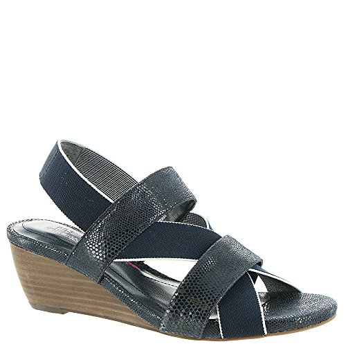 Ros Hommerson Women's Wynona Strappy Wedge Sandal,Navy Leather,US 6.5 M