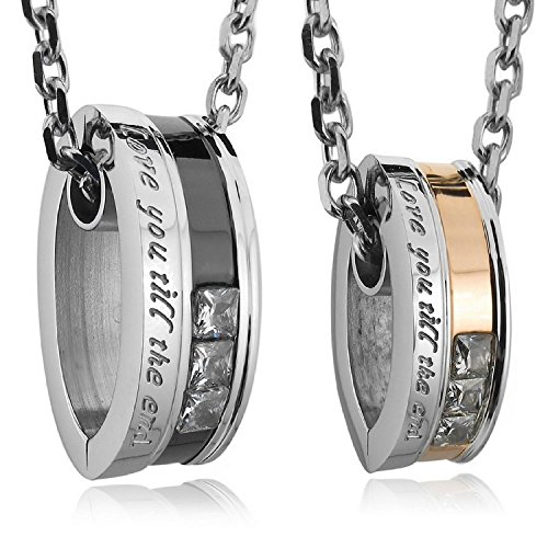"HITOP Mens Womens ""Love You Till the End"" Stainless Steel Pendant Necklace Cz Couples 2 Pcs / Set (Black+gold)"