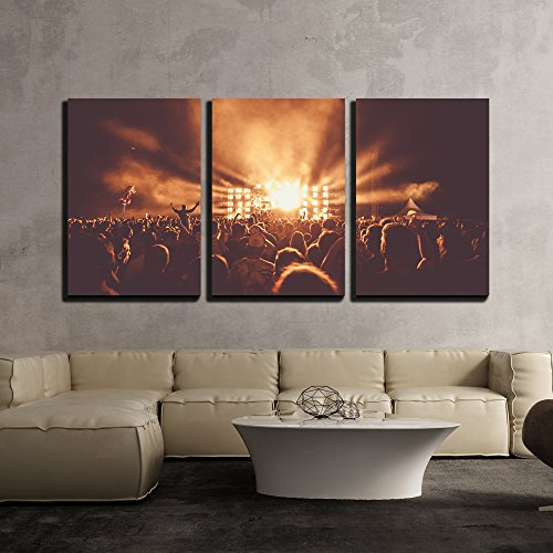 wall26 - 3 Piece Canvas Wall Art - Crowd at Concert - Modern Home Decor Stretched and Framed Ready to Hang - 24