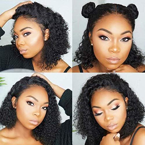 13X6 Deep Part Short Bob Curly Lace Front Wigs Human Hair Pre Plucked 150% Density Brazilian Wet Curly Bob Wigs Bleached Knots Middle Part(8 Inch)