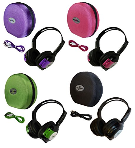 4 Pack Kid Sized Wireless Infrared Universal Car DVD IR Automotive Colored Adjustable 2 Channel Headphones With Case and 3.5mm Auxiliary Cord by Wisconsin Auto Supply (Image #9)