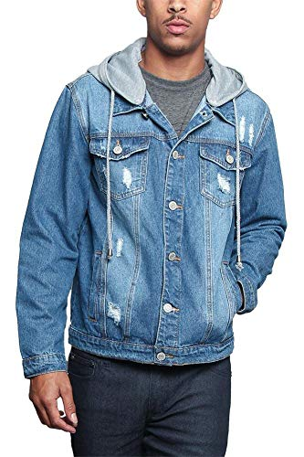 Victorious Hoodie Layered Ripped Denim Jacket with Removable Hood DK135 - Indigo - 4X-Large - JJ7C ()