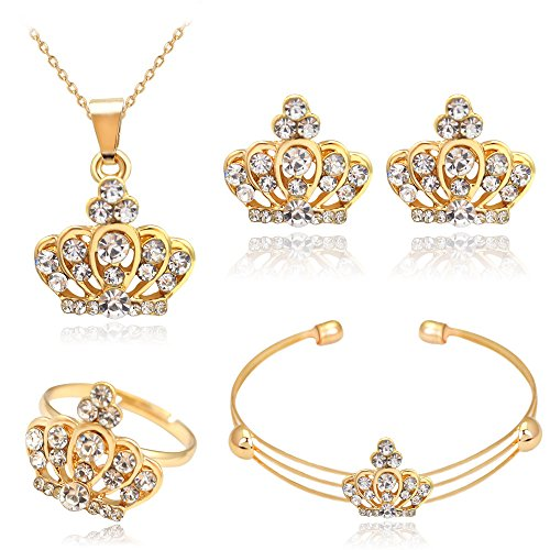 CHUYUN Exquisite Gold Crystal Queen Princess Crown Necklace Earring Bangle Ring Jewelry Set for Girls Christmas Gift