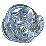 Whole House Worlds The Infinity Knot, Art Glass, Table Top Sculpture, Clear, Artisan Crafted, Hand Blown, 3 1/2 Inches, By WHW