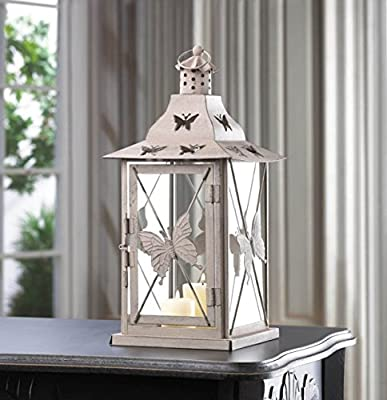 Garden Lovely White Lantern Candle Metal Holder Outdoor & Indoor Tabletop Display Ornament Guard Decor