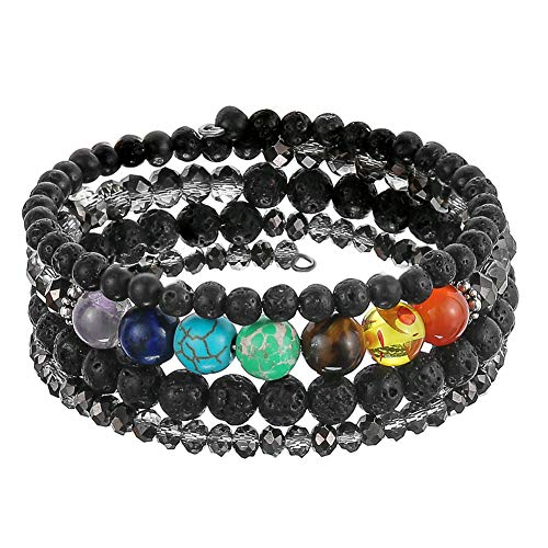 - Pearl&Club Beaded Bead Bangle Warp Bracelet - Multi Strand Bracelet with Natural Agate Stone, Birthday Gifts for Women