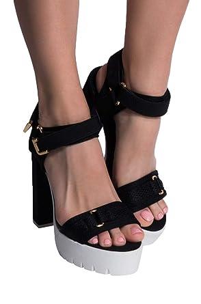 685522c3f5c Amazon.com: AKIRA Women's Buckle Strappy Chunky Heel Lug Sole High ...