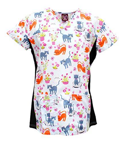 - Divine Scrubs Women's Medical Nursing Stretch Top Patterned Multi Pocket Uniform Shirt (Blue Floral Cat, Medium)