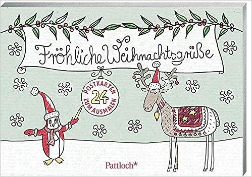 Etwas Andere Weihnachtsgrüße.Fröhliche Weihnachtsgrüße 24 Postkarten Zum Ausmalen Amazon De