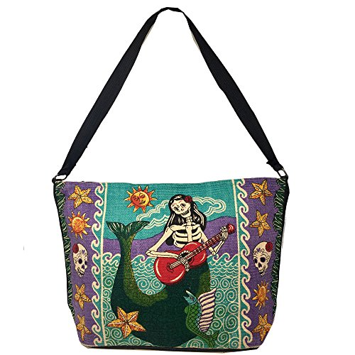 SpiritStar Sugar Skull Purse: Day of the Dead Inspired Daily Travel Bag Made with 100% Washable Cotton (Mermaid)