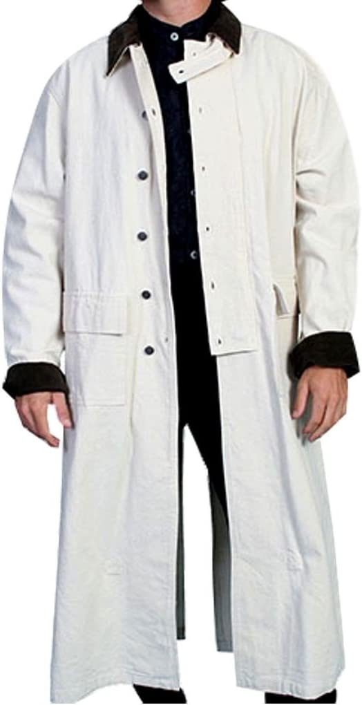 Men's Steampunk Clothing, Costumes, Fashion Rangewear By Scully Mens Long Canvas Duster $137.37 AT vintagedancer.com