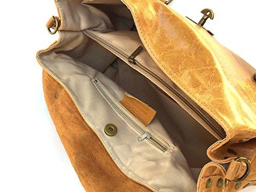 Superflybags Borsa A Spalla In Vera Pelle modello Rodeo Made In Italy cognac