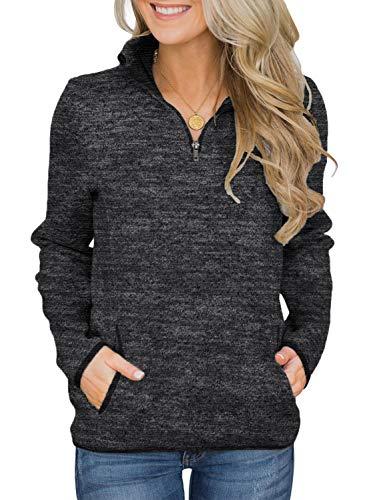 AlvaQ Womens Juniors Fashion 1/4 Zip Long Sleeve Autumn Winter Sweatshirt Pullover Tops with Pockets Black Small