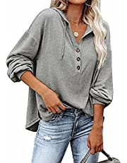 Famulily Womens Causal Drawstring Hood V Neck Long Sleeve Pullover Button Down Sweatshirts Comfy Henley Shirts