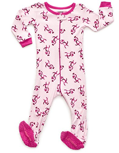 Leveret Kids Monkey Pink Baby Girls Footed Pajamas Sleeper 100% Cotton (Size 12-18 Months)