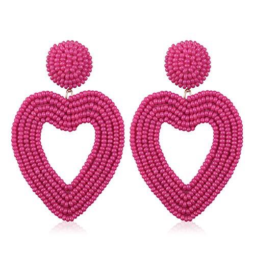 Statement Beaded Hoop Earrings, Drop Dangle Heart Earrings Bohemian for Women Girl Novelty Fashion Summer Accessories - VE135 Rose Pink