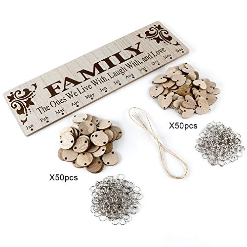 Joy-Leo Gifts for Moms Dads - Wooden Family Birthday Reminder Calendar Board [100 Wood Tags with Holes/Family Sayings Pattern ], Decorative Birthday Tracker Plaque Wall Hanging