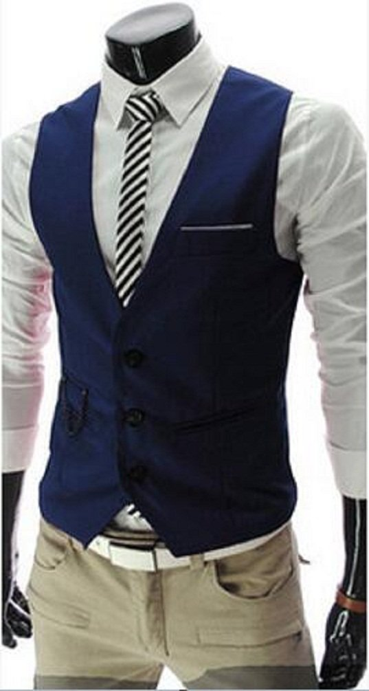 PXS Vest V-Neck Sleeveless Slim Fit Jacket Men Business Waistcoat (Navy, M)