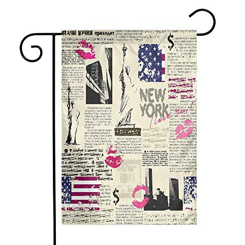 Mannwarehouse United States Garden Flag Newspaper New York with Sketchy Statue of Liberty and Texts Lipstick Vintage Premium Material W12 x L18 Multicolor