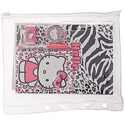 Hello Kitty Stationery Set in Clear Binder Pouch 6 pcs Set (Journal, Memo Pad, Stickers, Eraser, Sharpener and Gel Pen): Toys & Games