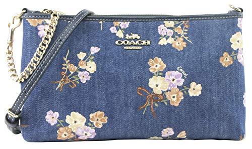 Coach Denim Floral Zip Top Crossbody Denim Multi 88681