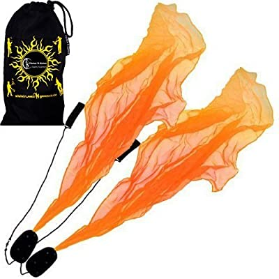 Angel Poi Spiral Poi- Practice Poi (Orange) by Flames N Games + Travel Bag!: Toys & Games