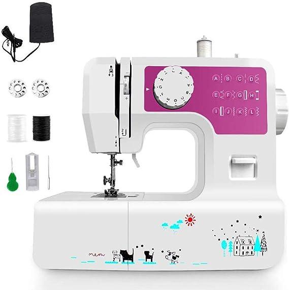 Mini máquina de coser portátil multifunción con ojal LED Máquina de overlock eléctrico de escritorio para el hogar de 2 velocidades 12 puntadas Cortador de hilo, funciones 6 puntadas: Amazon.es: Hogar