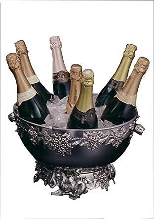 portachampagne, Porta Botellas champán 36 cm. inox con adornos de metal fundido