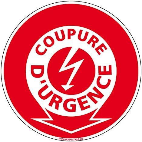 Plastique rigide PVC 1,5 mm Double Face Autocollant au Dos Protection Anti-UV Coupure dUrgence Electrique Panneau Diam/ètre 125 mm