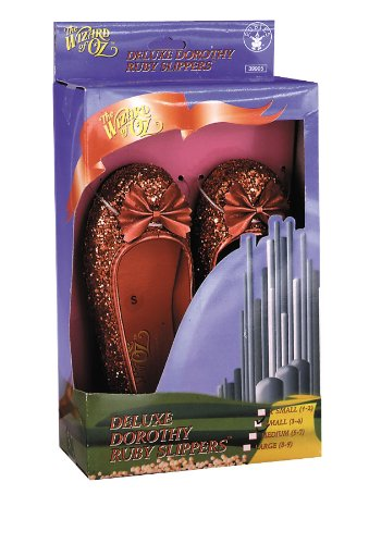 Deluxe Dorothy Shoes (Child Deluxe Dorothy Ruby Slippers,Large,Red Glitter)