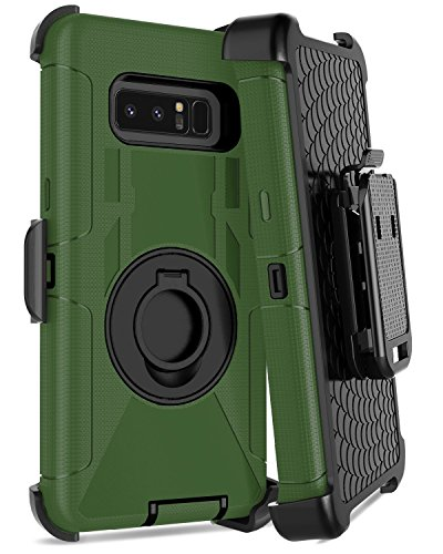 Dailylux Galaxy Note 8 Case,Note 8 Case Belt Clip Heavy Duty Shockproof Swivel Belt Clip Rugged Bumper Hybrid with Kickstand Holster Protective Cover Case for Samsung Galaxy Note 8,Black+Green